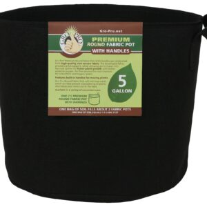 Gro Pro® Premium Round Fabric Pots with Handles – Black