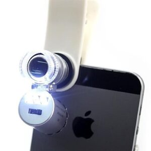 Universal Cell Phone Illuminated Microscope with Clip – 60x