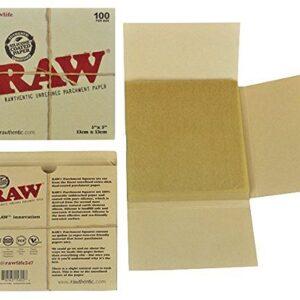 RAW Unrefined Parchment Paper Squares 5″ x 5″ 100 Sheet Pack